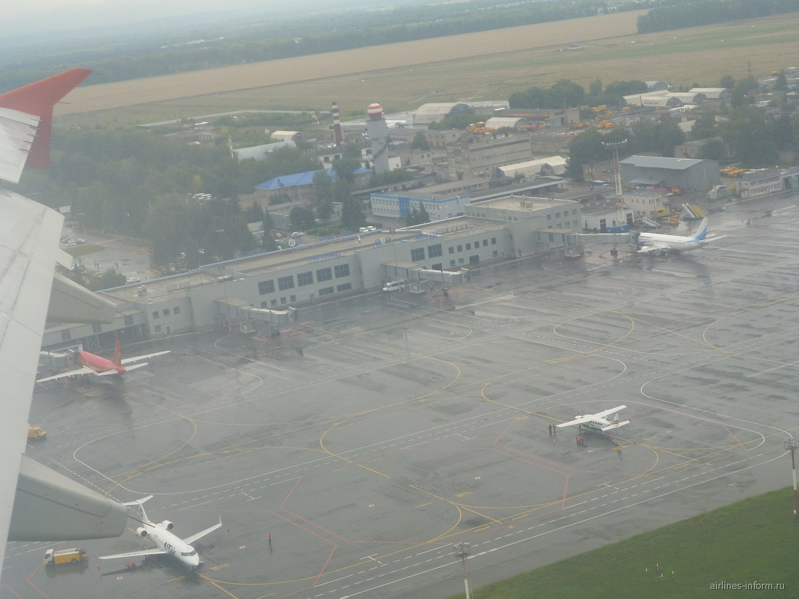 Вид на аэропорт Уфа при взлете