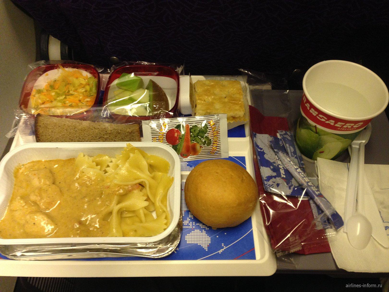 Питание на рейсе Трансаэро Москва-Новосибирск