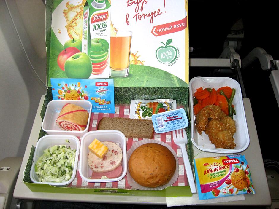 Питание на рейсе Москва-Красноярск авиакомпании  Сибирь S7