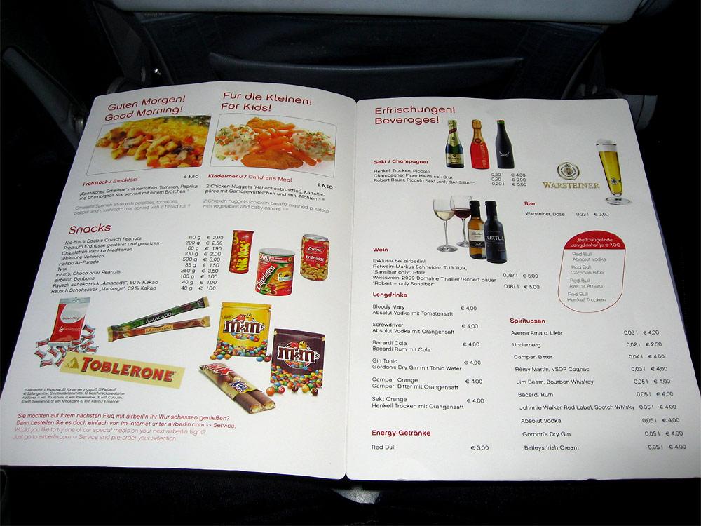 Onboard meals of Air Berlin