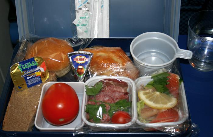 Meal on the flight  Gazpromavia Ulyanovsk-Moscow
