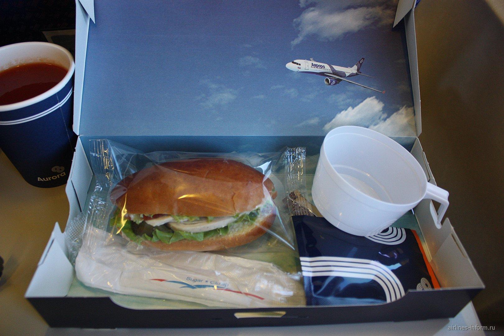 """Холодное питание на рейсе Южно-Сахалинск-Хабаровск авиакомпании """"Аврора"""""""