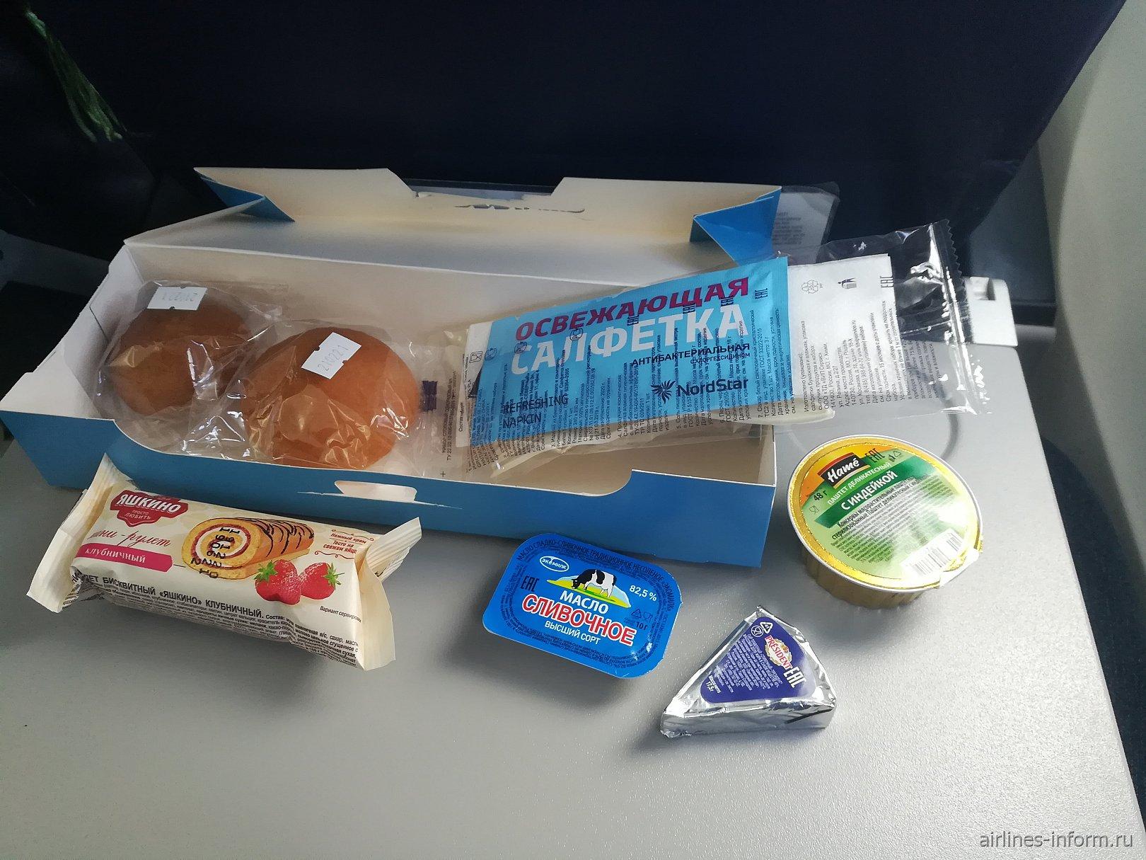 Бортовое питание на рейсе Братск-Чита авиакомпании NordStar