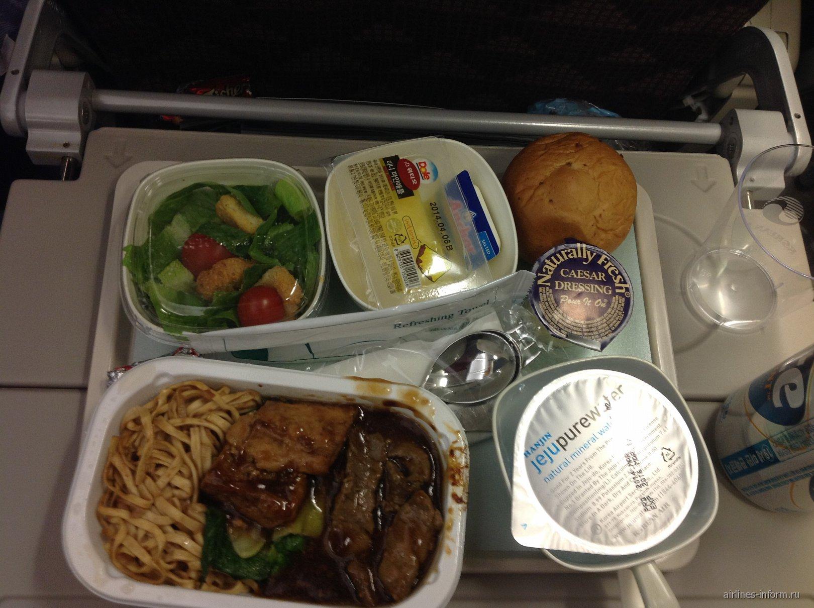 Питание на рейсе Корейских авиалиний Сеул-Ханой