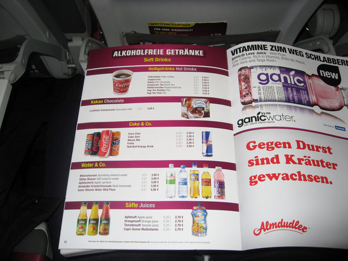 Бортовое меню авиакомпании Germanwings