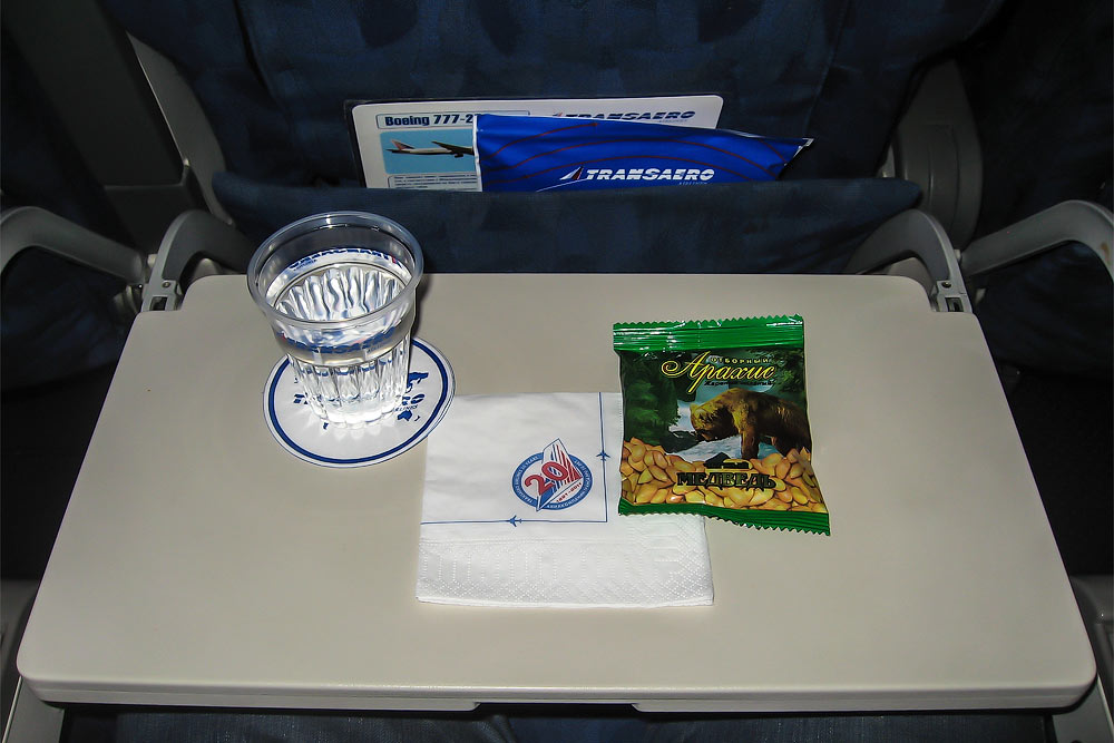 Meal on a Transaero flight from Moscow to Los Angeles