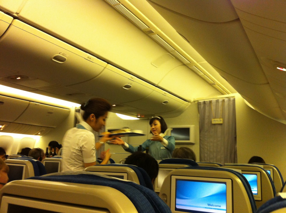 Passenger class cabin of Korean Air Boeing 777-200