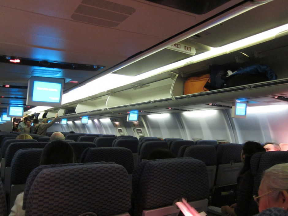 Passenger cabin of Boeing 737-800 of United Airlines