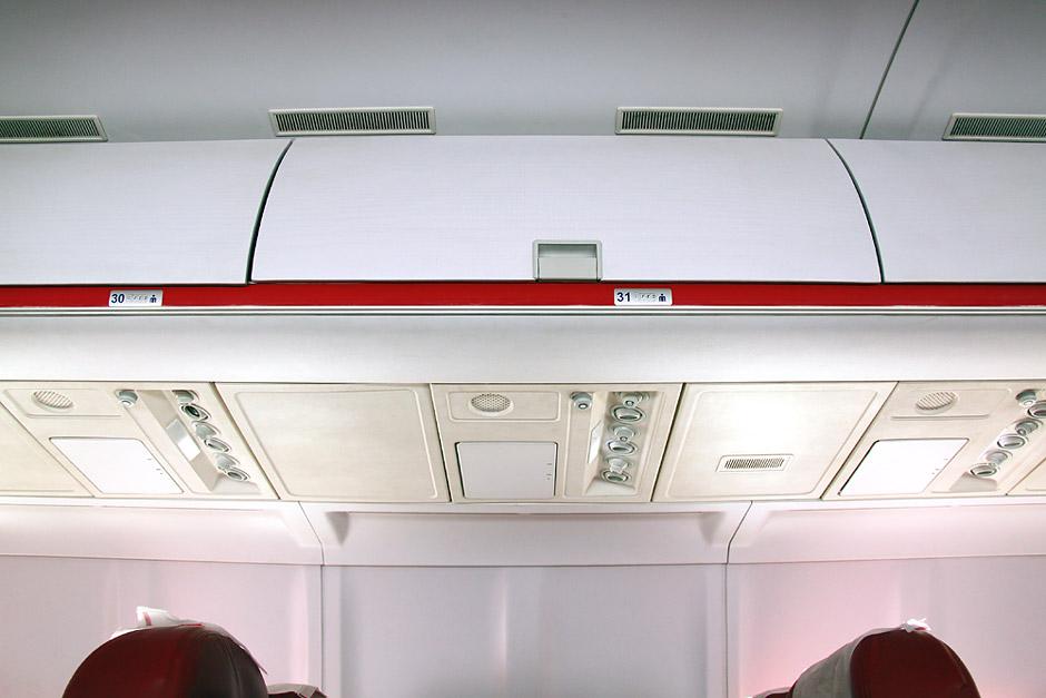 Багажные полки в самолете Ту-204 авиакомпании Red Wings