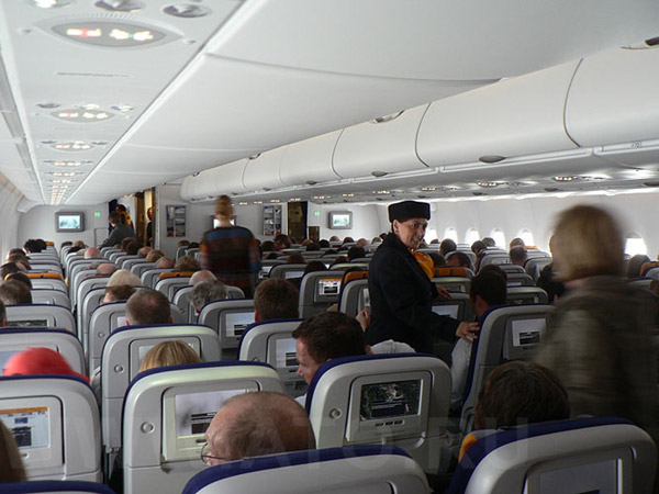 Passenger cabin of Lufthansa Airbus A380