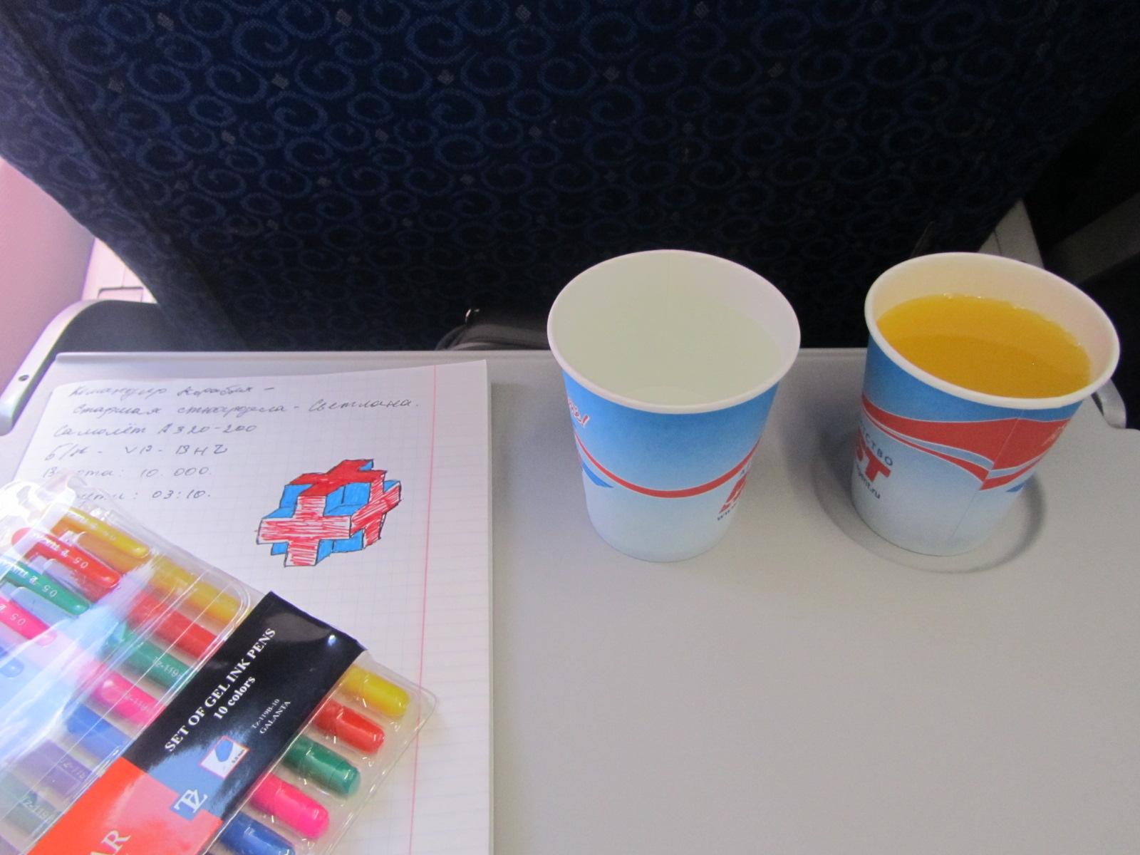 Питание на рейсе Новый Уренгой - Москва авиакомпании Ямал
