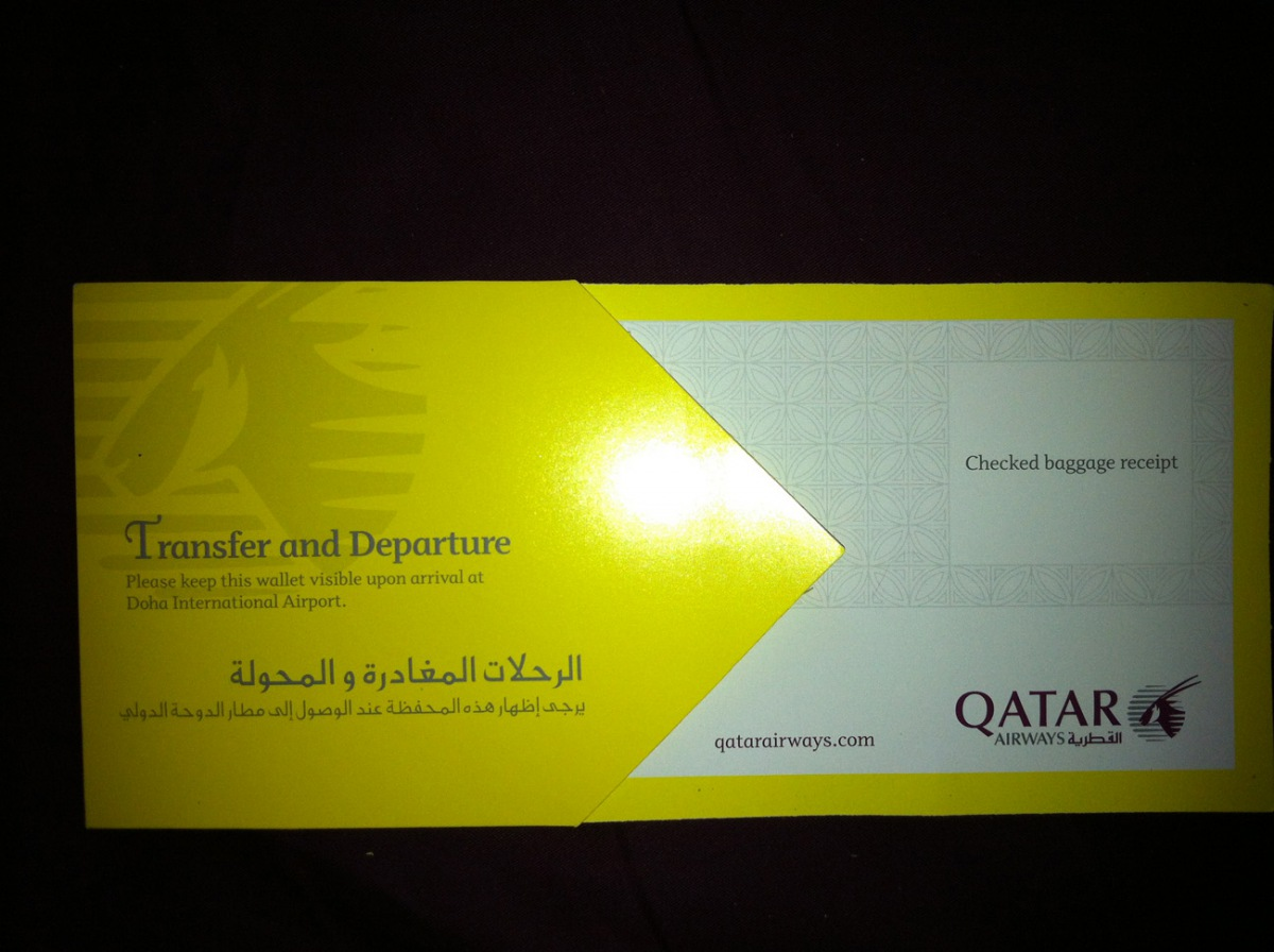 Boarding pass of Qatar Airways