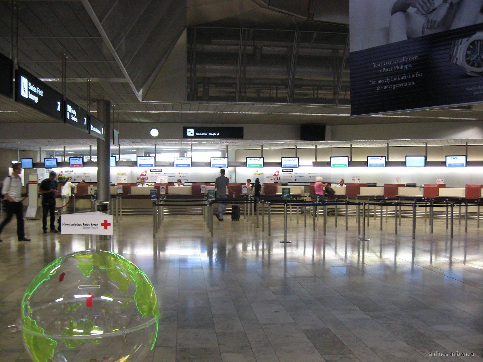 Пункты обслуживания трансферных пассажиров в аэропорту Цюрих