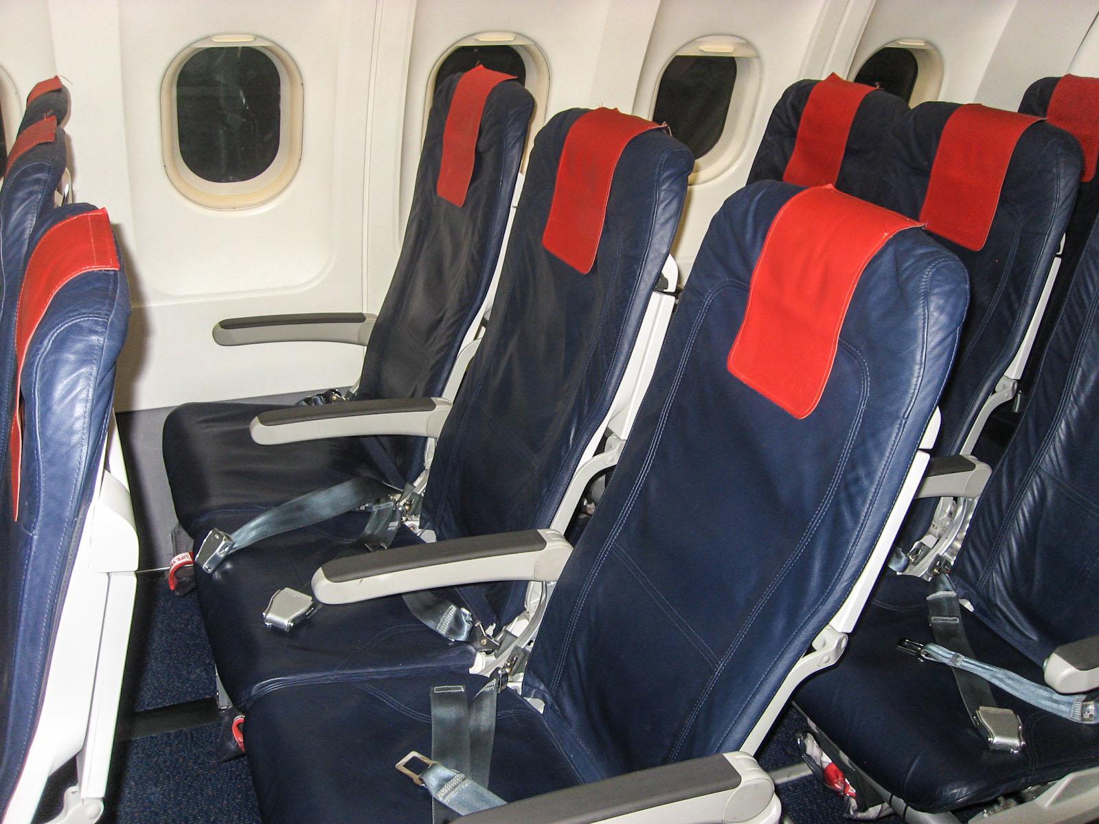 Пассажирские кресла эконом-класс в Airbus A320 Брюссельских авиалиний