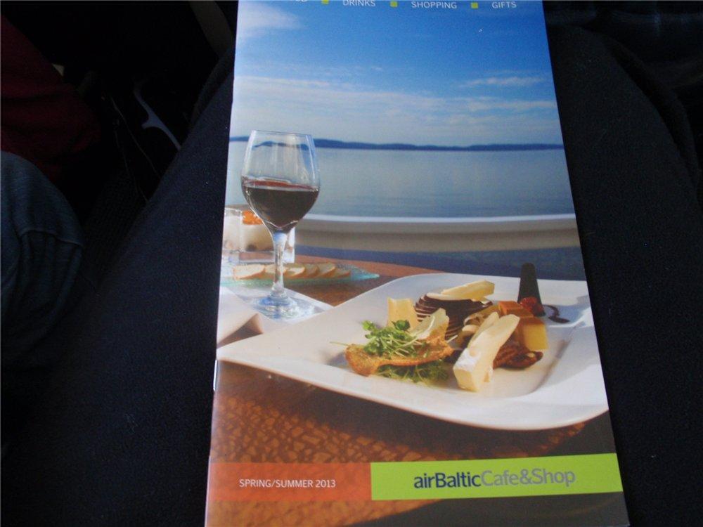 Бортовое меню  авиакомпании airBaltic