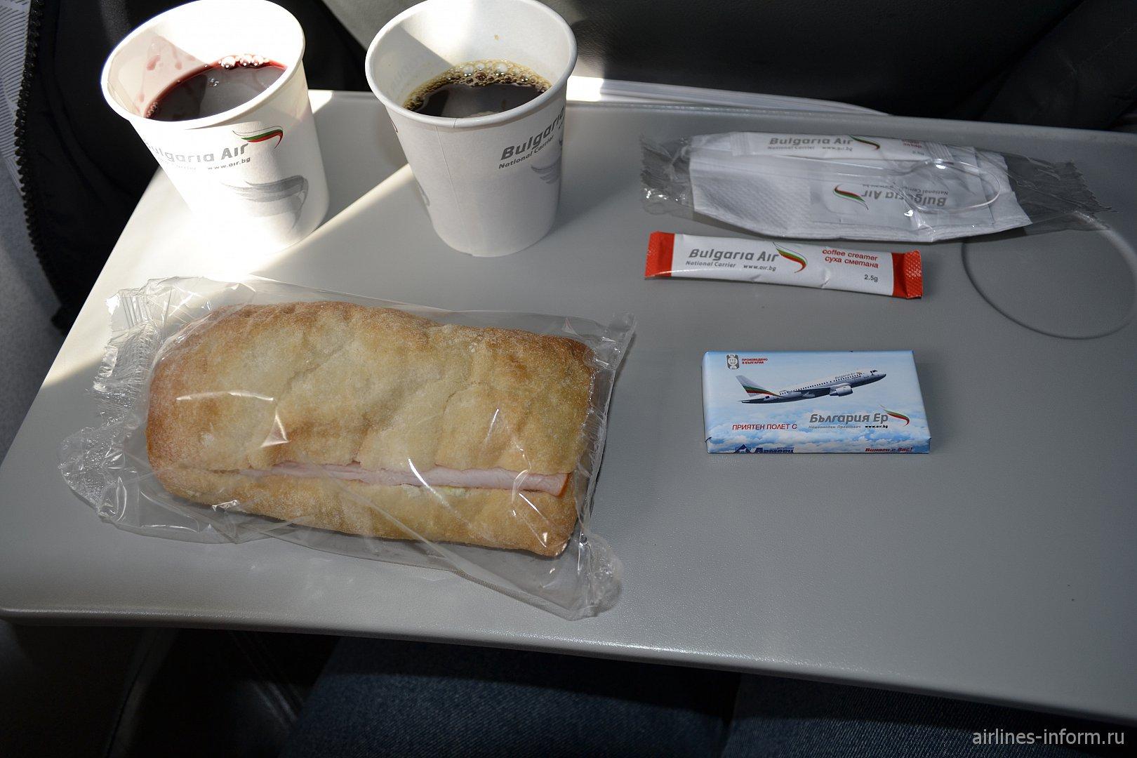 Бортпитание на рейсе София-Москва авиакомпании Bulgaria Air