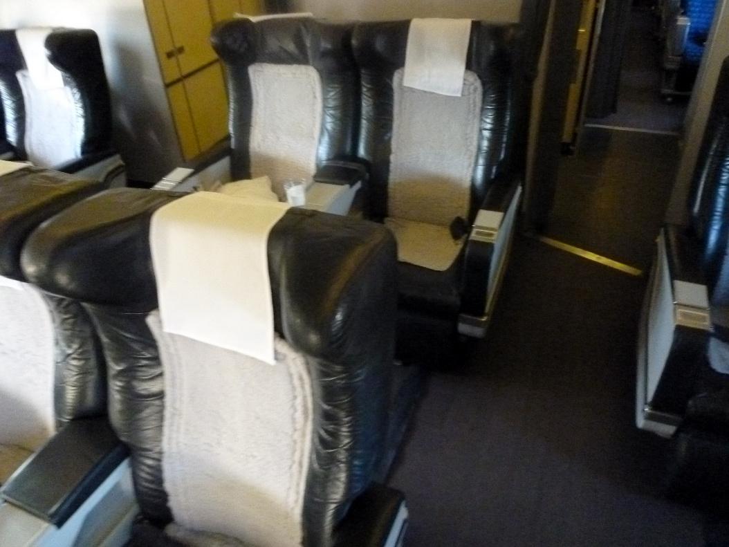 Passenger cabin of Airbus A310-300 of Uzbekistan Airways