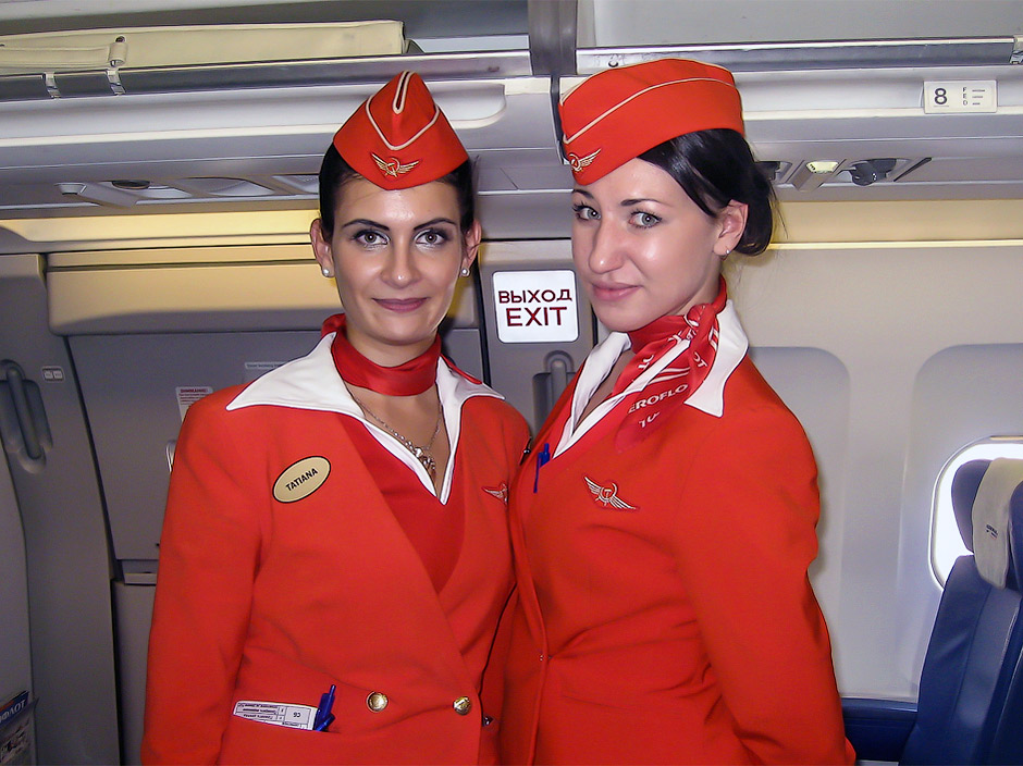 Cabin attendants of Aeroflot Russian Airlines