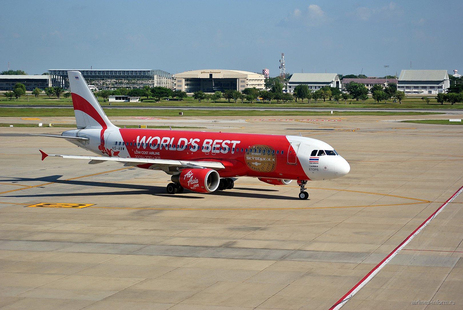 Airbus A320 HS-ABW авиакомпании Thai AirAsia в аэропорту Бангкок Дон Муанг