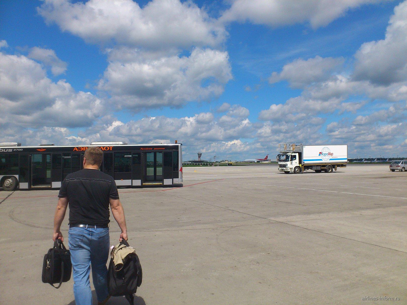 На перроне аэропорта Шереметьево