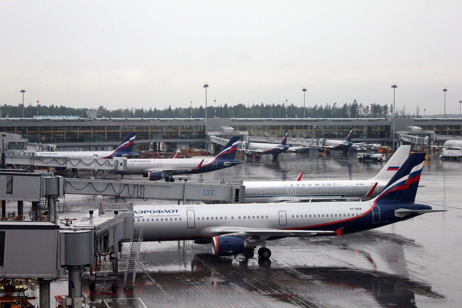 Самолеты Аэрофлота на перроне терминала D аэропорта Шереметьево