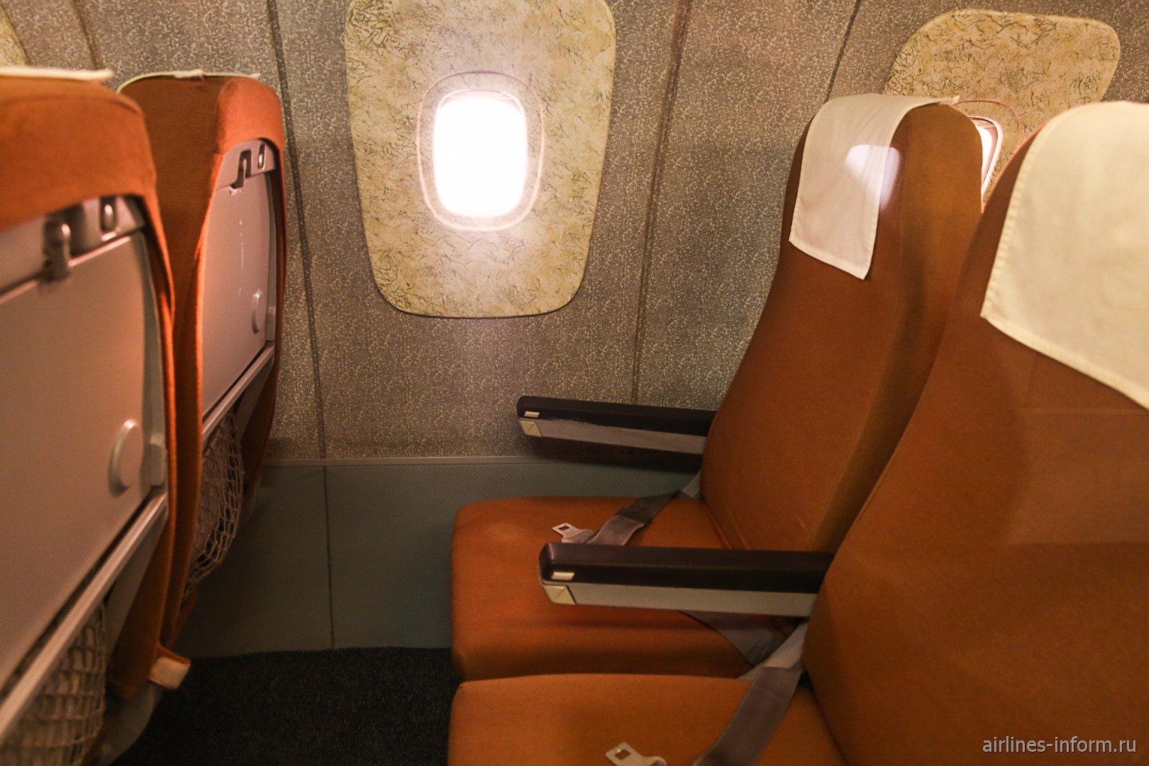 Пассажирские кресла самолета Ту-144 в музее техники в Зинсхайме