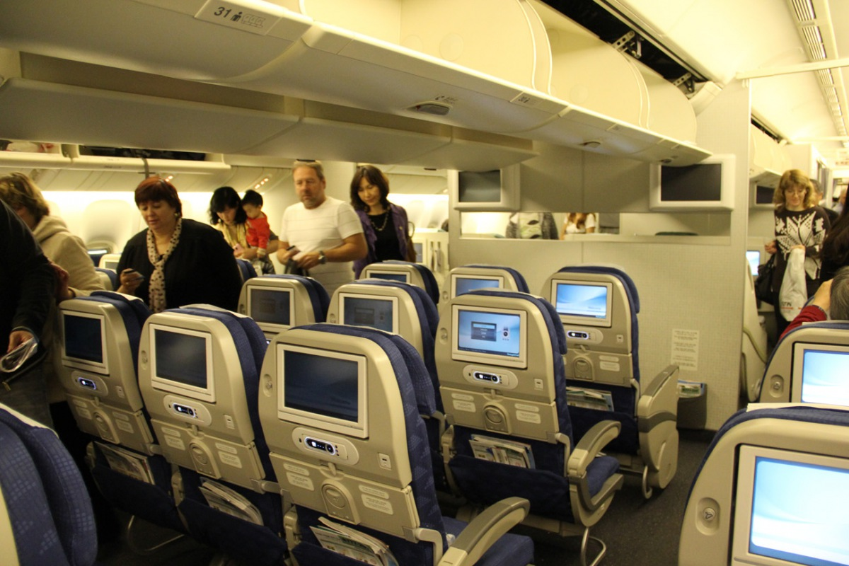 Economy class cabin of Korean Air Boeing 777-200