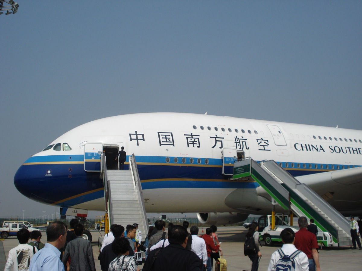 Airbus A380 of China Southern Airlines at the Guangzhou airport