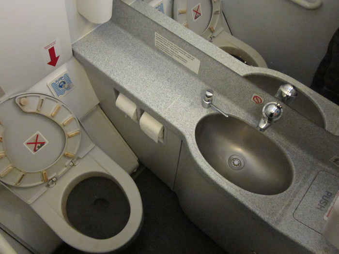 Toilette of Airbus A320 of CSA Czech Airilines