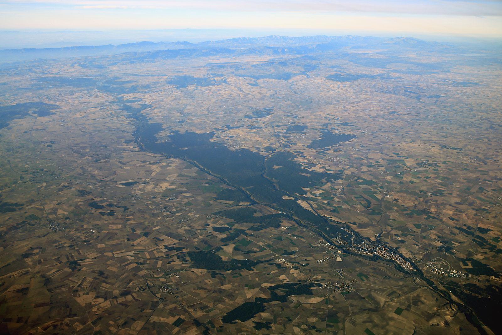 Вид на западную Испанию из самолета