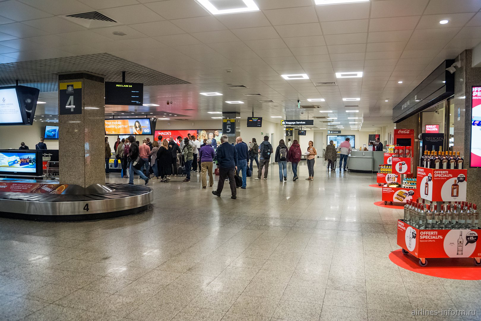 Зал выдачи багажа в аэропорту Мальта