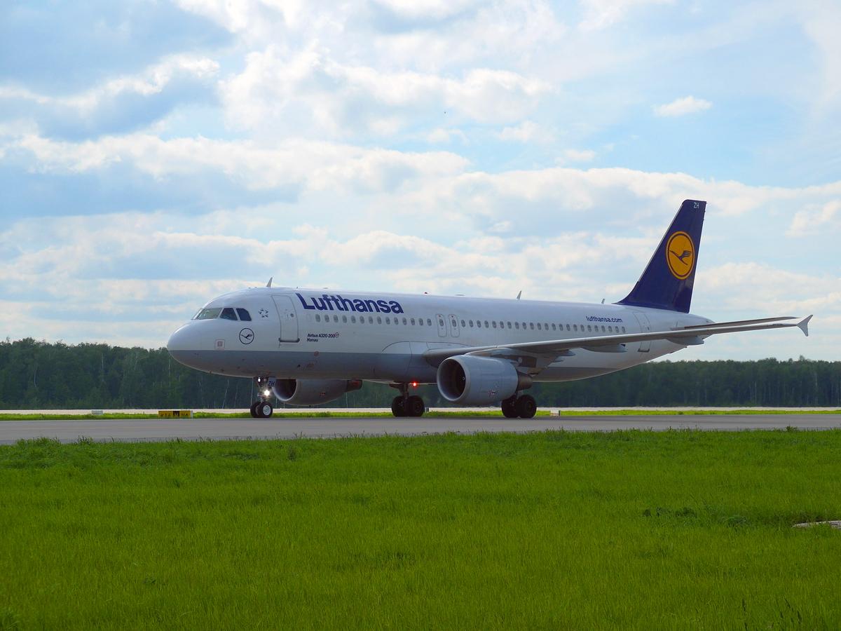 Airbus A320 авиакомпании Lufthansa в аэропорту Домодедово