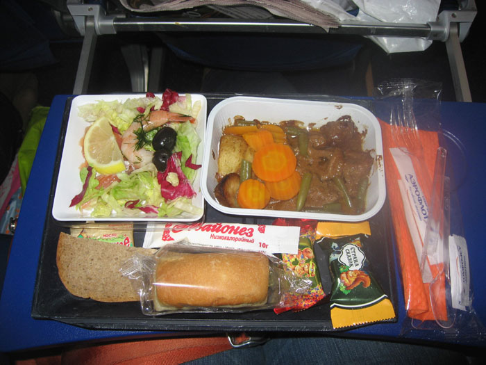 Meal on Aeroflot flight Heraklion-Moscow