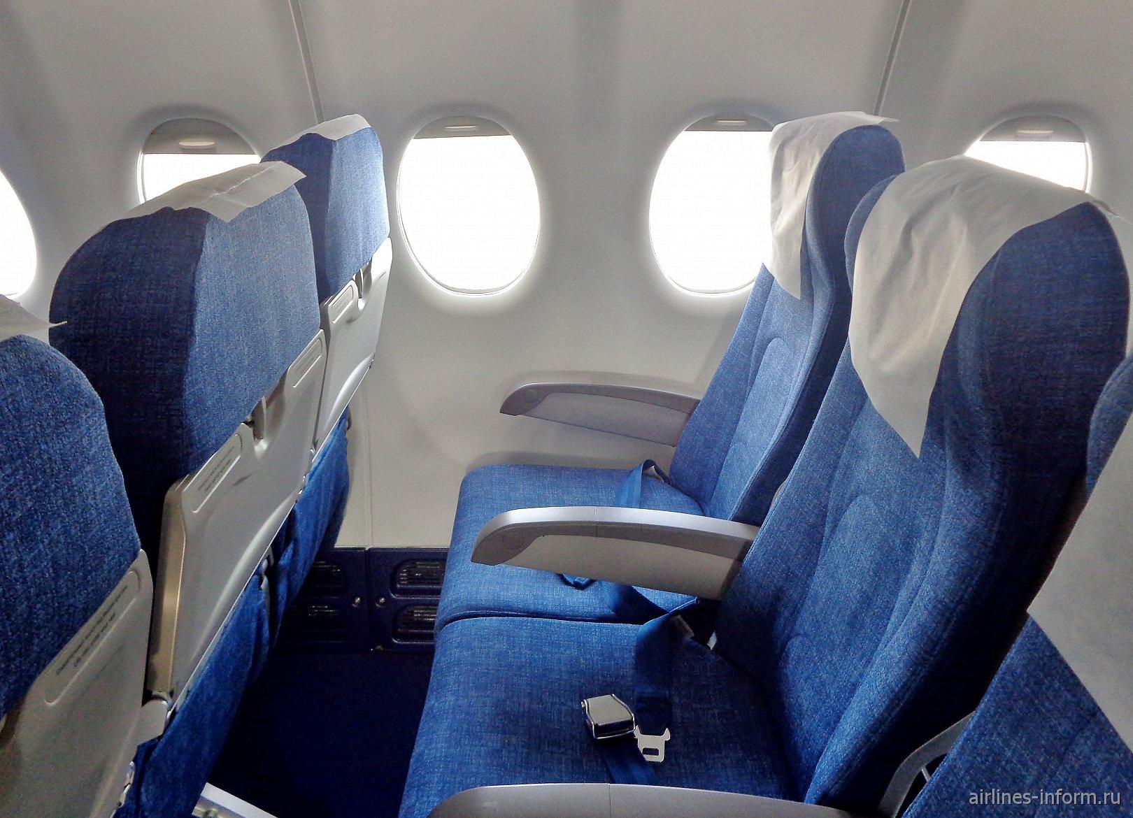 """Пассажирские кресла эконом-класса в самолете Суперджет-100 авиакомпании """"ИрАэро"""""""