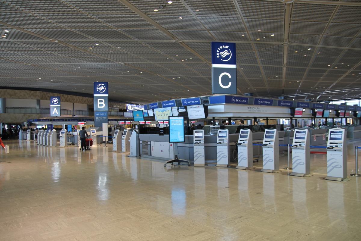 Зона регистрации авиакомпаний альянса Skyteam в аэропорту Токио Нарита