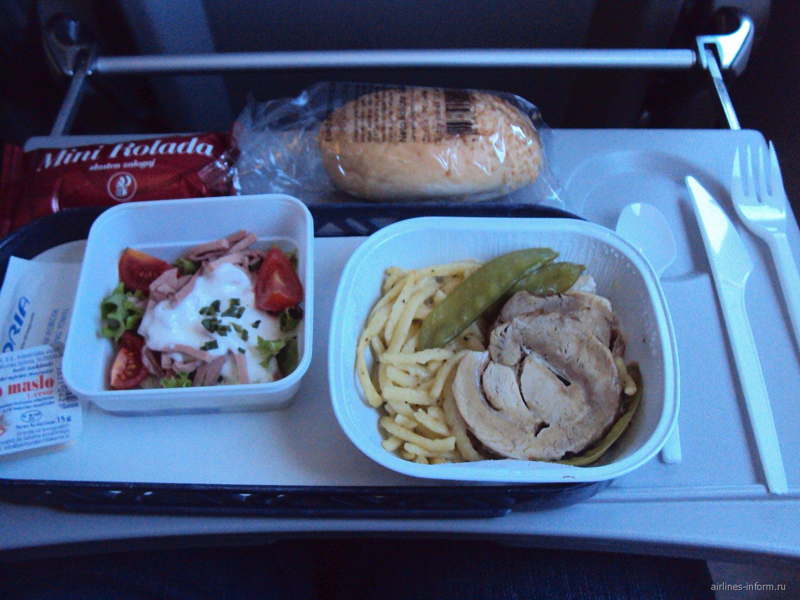 Питание на рейсе Москва-Любляна авиакомпании Adria Airways