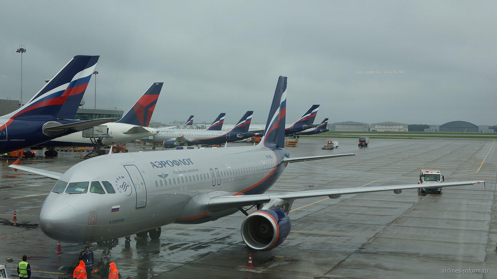 Airbus A320 Аэрофлота в аэропорту Шереметьево