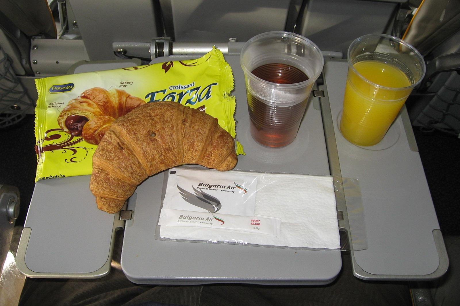 Питание на рейсе Москва-Бургас авиакомпании Bulgaria Air