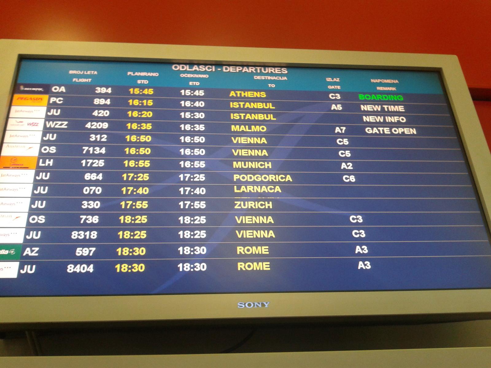 В белградском аэропорту Никола Тесла
