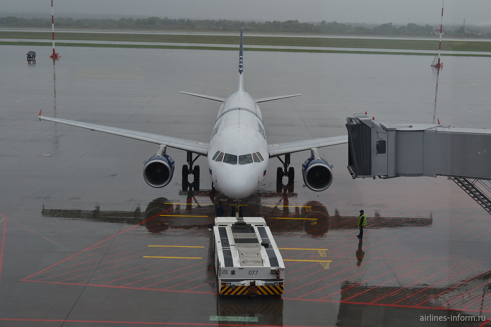 Airbus A319 Аврора в аэропорту Владивостока