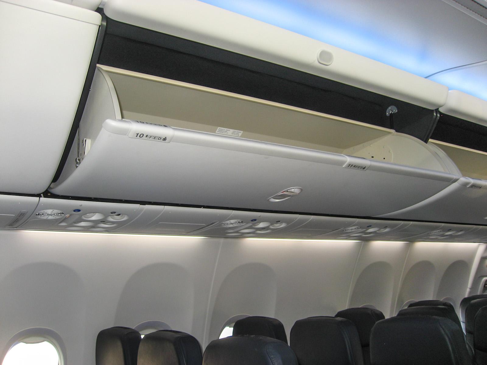 """Багажные полки в самолете Боинг-737-800 авиакомпании """"Победа"""""""