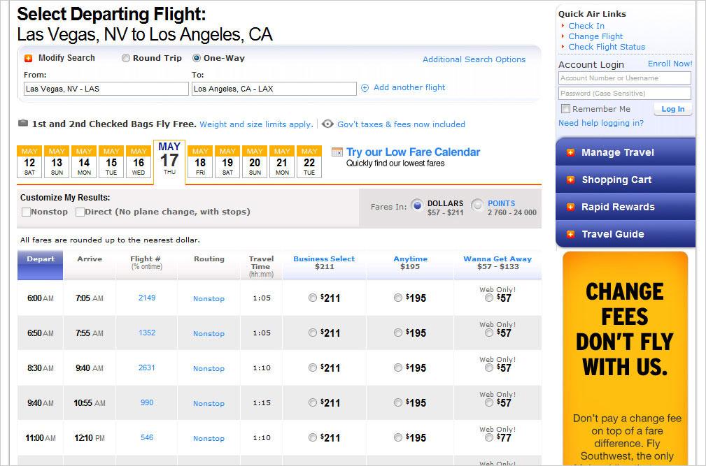 Бронирование авиабилетов на рейс Southwest Airlines