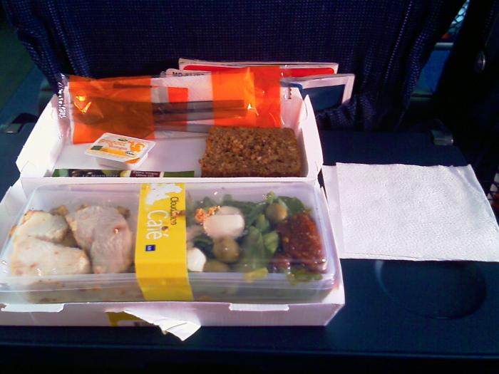 Board meal on the SAS Copenhagen-Paris flight