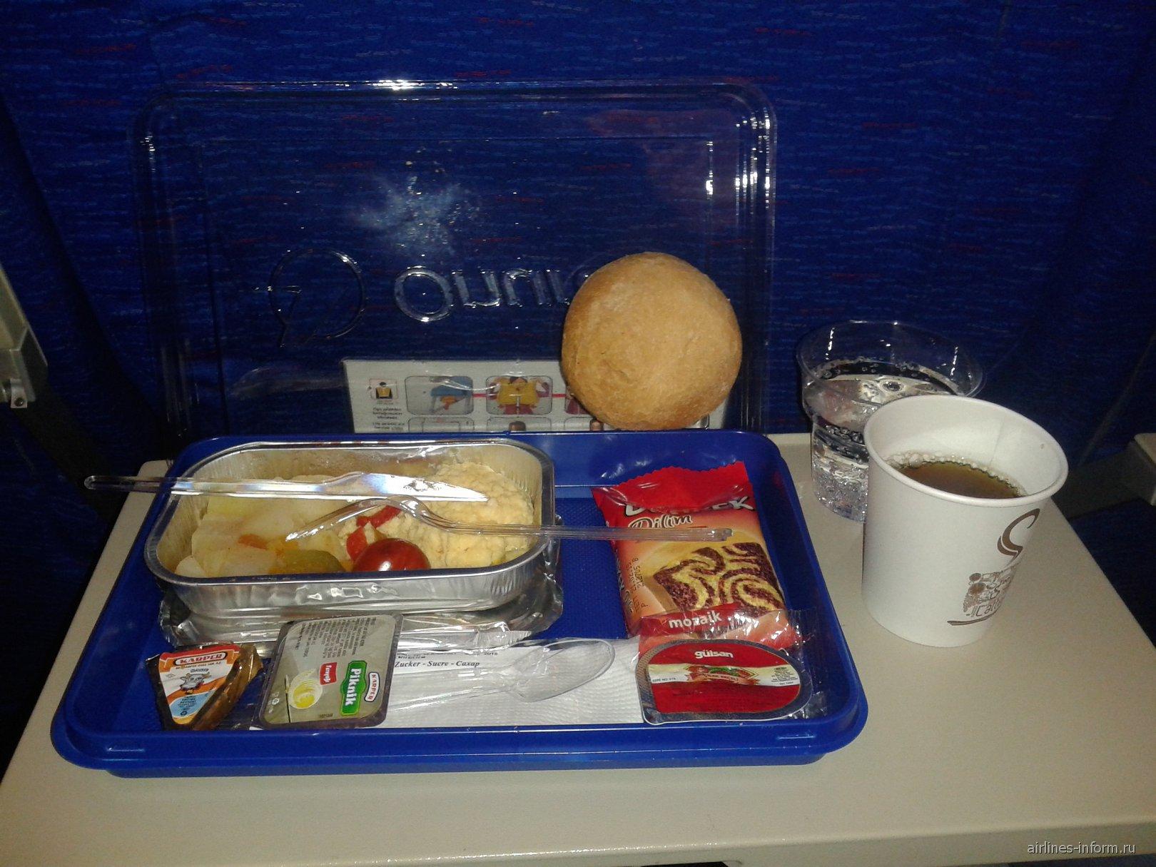 Питание на рейсе Москва-Анталья авиакомпании Onur Air