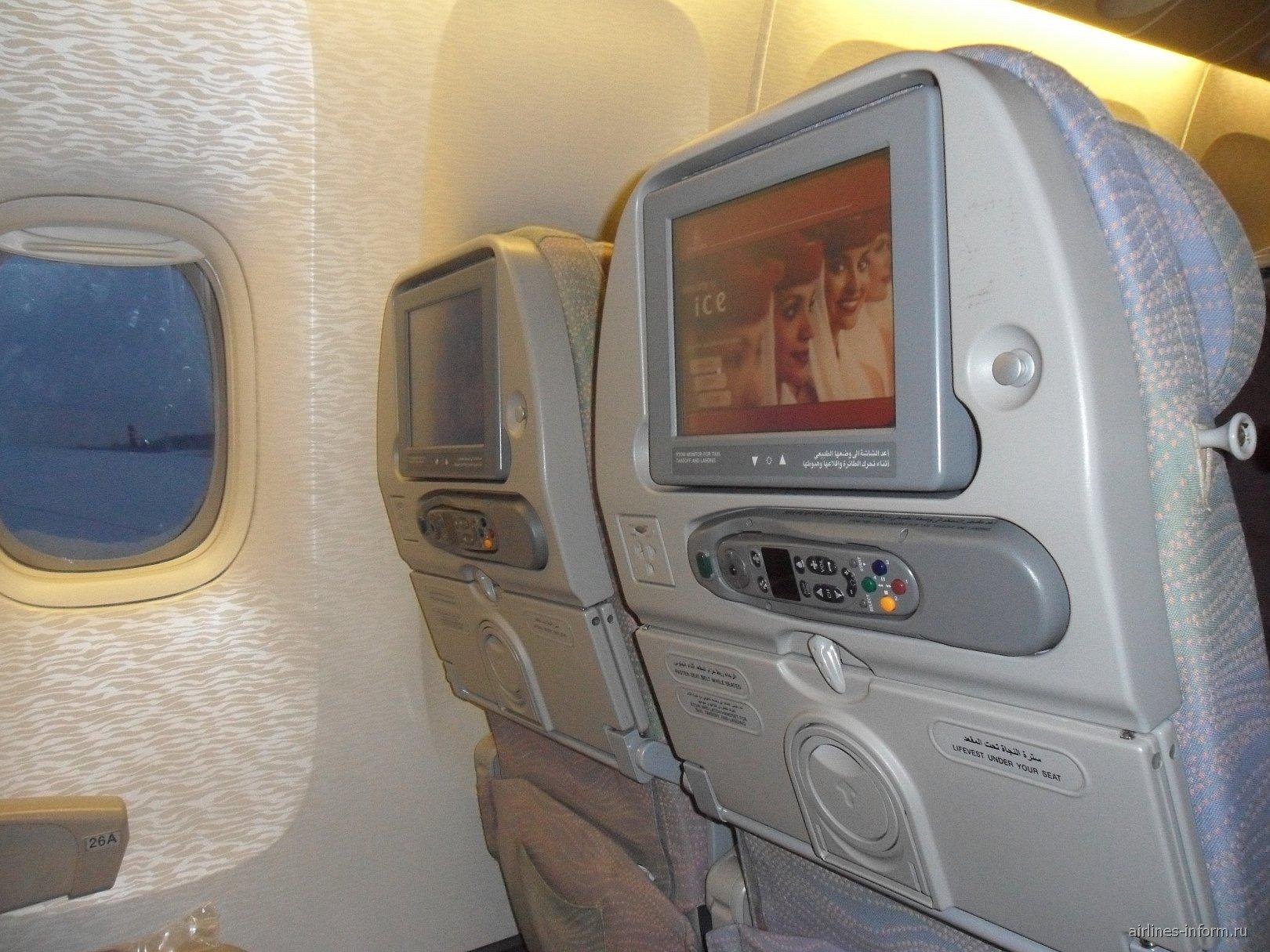 Кресла самолета Боинг-777-200 авиакомпании Emirates