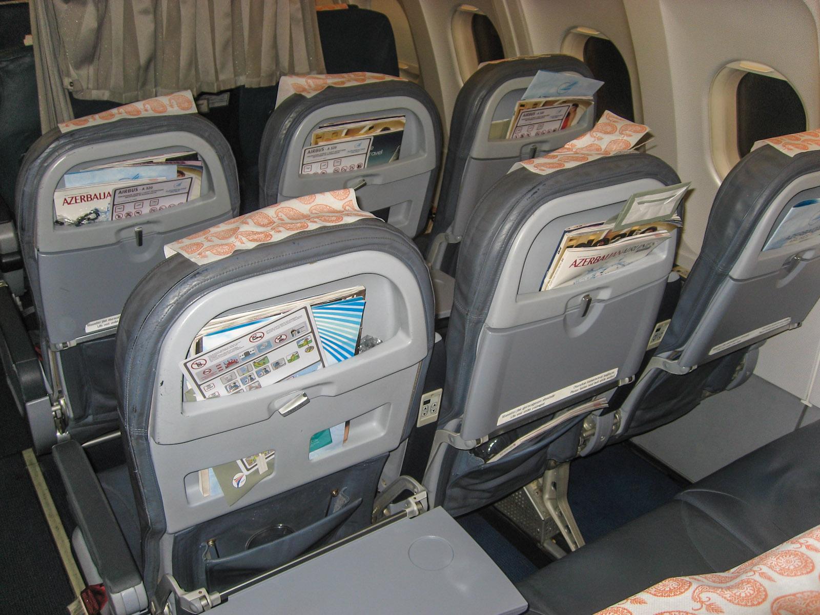 Кресла эконом-класса в Airbus A320 Азербайджанских авиалиний