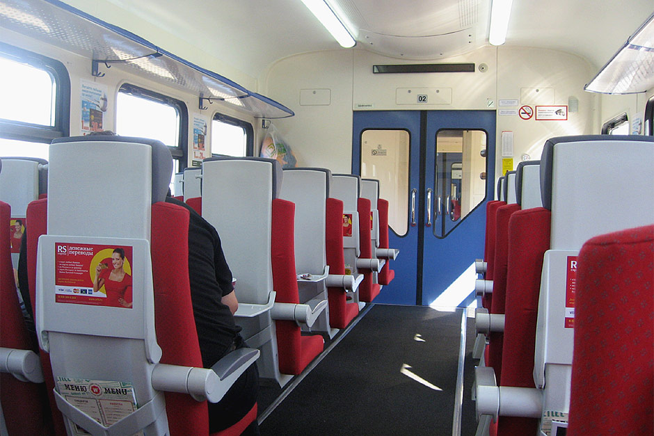 В вагоне поезда Аэроэкспресс