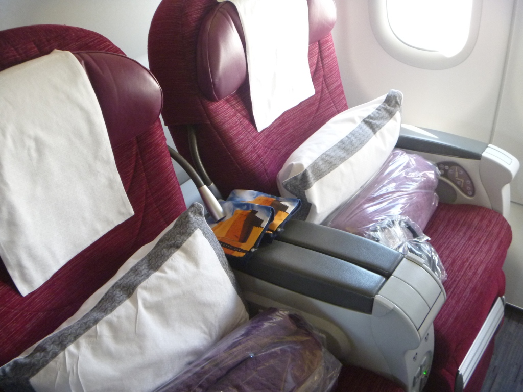 Пассажирские места бизнес-класса в Airbus A321 Катарских авиалиний