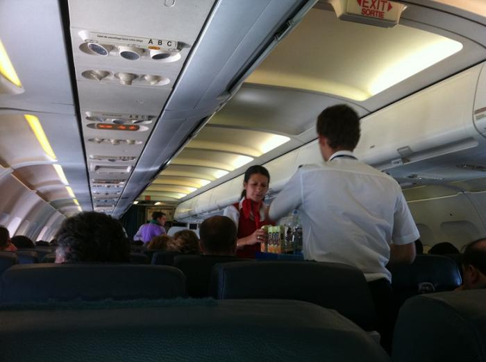Внутри самолета авиакомпании Travel Service