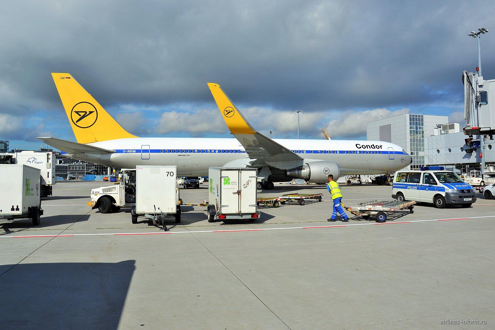 Боинг-767-300 в ретро-ливрее авиакомпании Condor в аэропорту Франкфурт